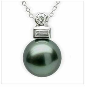 Deco a Black Tahitian South Sea Cultured Pearl Pendant