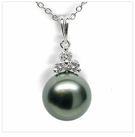 Tahitian Princess in Black Tahitian Cultured Pearl Pendant