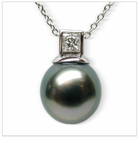 Semele a Black Tahitian South Sea Cultured Pearl Pendant