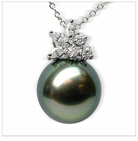 Blossom Black Tahitian South Sea Pearl Pendant