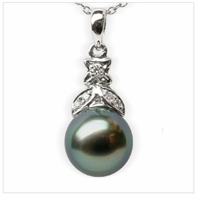 Delila a Black Tahitian South Sea Cultured Pearl Pendant
