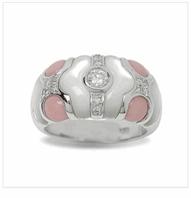 Andromeda a Mother of Pearl and Coral Ring