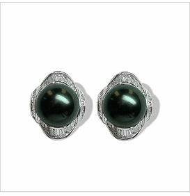 Voyage a Black Tahitian South Sea Cultured Pearl Earring