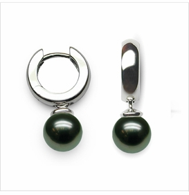 14K White Gold and 8mm Pearl Hoop Earring