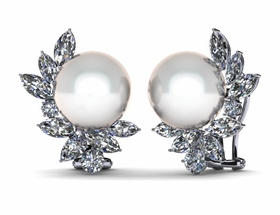 South Sea Cluster Diamond Pearl Earring