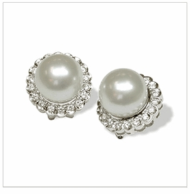 18K White Gold South Sea Pearl and Diamond Earring