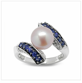 Blue Muse a Japanese Akoya Cultured Pearl Ring