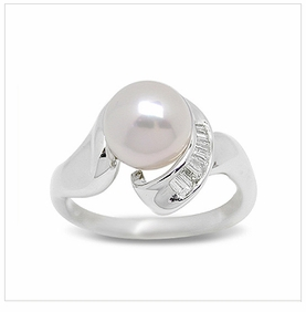 Vrinda a Japanese Akoya Cultured Pearl Ring