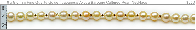 Goldie a Golden Japanese Akoya Baroque Cultured Pearl Necklace
