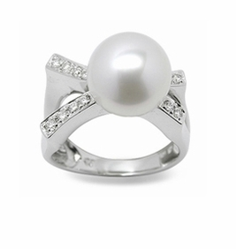 Pisces a White South Sea Cultured Pearl Ring