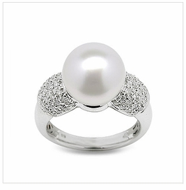 Bina a White South Sea Cultured Pearl Ring