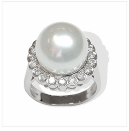 Luna 18K White Gold South Sea Pearl & Diamond Ring