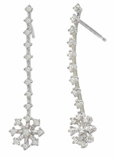 18K White Snow Flower Drop Diamond Earrings (.62 ct. tw.)