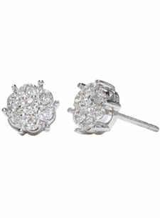 18K White Small Diamond Clusters Studs (.55 ct. tw.)