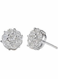 18K White Medium Diamond Clusters Studs (1.08 ct. tw.)