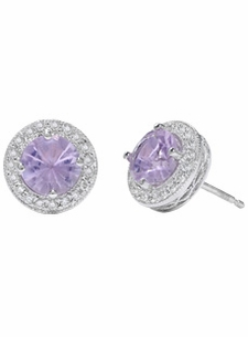 Violets In The Snow, 38 Pts. Diamond Studs & 2 Cts Amethyst Centers