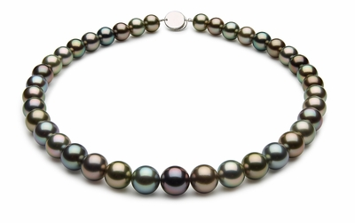 10.2 x 11.5mm Black Tahitian Pearl Necklace