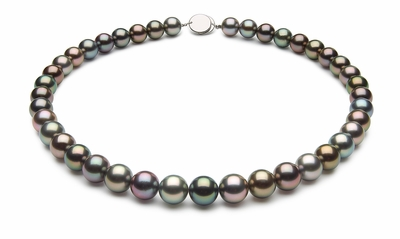 10.1 x 10.7mm Black Tahitian Pearl Necklace