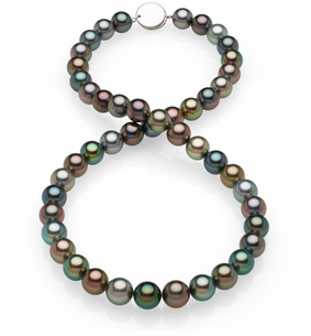 8.8x9.2mm Black Tahitian Pearl Necklace