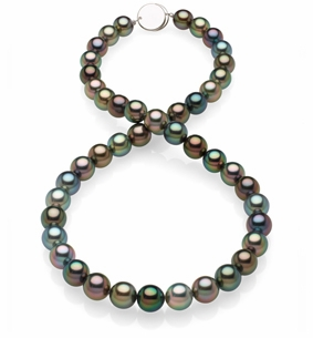 8.7x9.3mm Black Tahitian Pearl Necklace