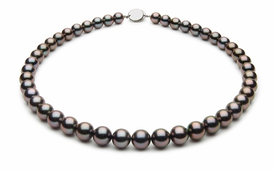 8.7 x 9.9mm Black Tahitian Pearl Necklace Eggplant Cherry Color
