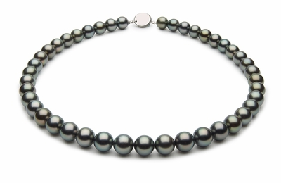 9 x 9.9mm Black Tahitian Pearl Necklace Green Color