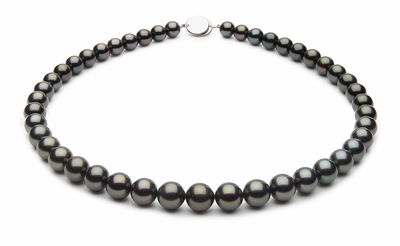 8.1 x 9.9mm Black Tahitian Pearl Necklace Black Green Color