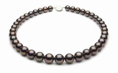 10 x 11.9mm Black Tahitian Pearl Necklace Aubergine Cherry Color