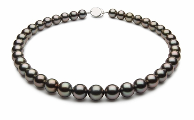 10 x 11.8mm Black Tahitian Pearl Necklace Green Rose Color