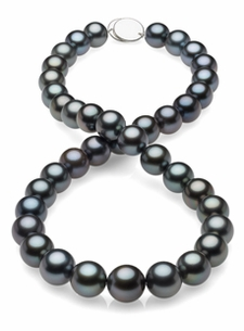 10 x 11.8mm Tahitian Black Blue Pearl Necklace