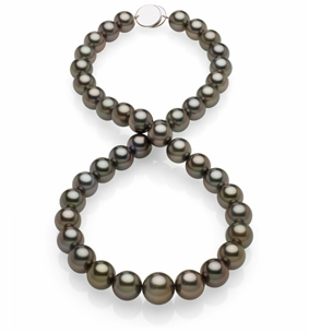 SOLD - 10x11.8mm Black Tahitian Pearl Necklace