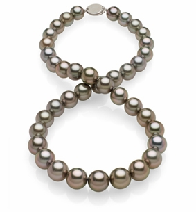 10x11.9mm Dark Grey Aubergine Tahitian Pearl Necklace
