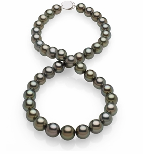 10x11.9mm Peacock Black Tahitian Pearl Necklace