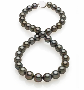 10x11.6mm Black  Tahitian Pearl Necklace