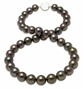 10x11.7mm Eggplant Aubergine Tahitian Pearl Necklace