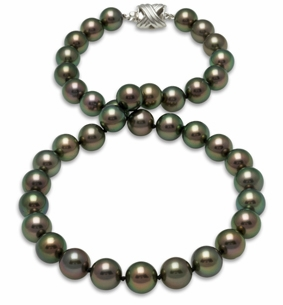 9x10mm True Peacock Tahitian Pearl Necklace