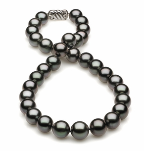 12 x 13.65 Dark Black Green Tahitian Pearl Necklace