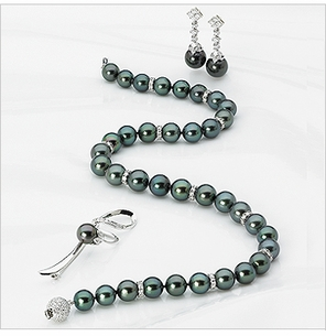 8mm to 10mm Tahitian Pearl & Diamond Rondell Set