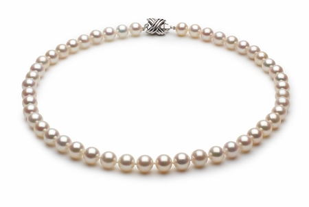 7.5 x 8mm White High Grade Freshwater Pearl Necklace