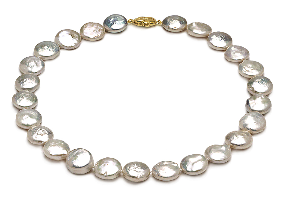 Aaa 15 X 16mm Coin Pearl Necklace
