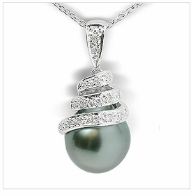 Grand Bella Black Tahitian Cultured Pearl Pendant
