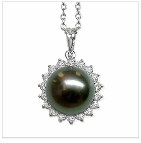 Night Sunflower a Black Tahitian Cultured Pearl Pendant