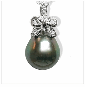 Ribbon a Black Tahitian Cultured Pearl Pendant
