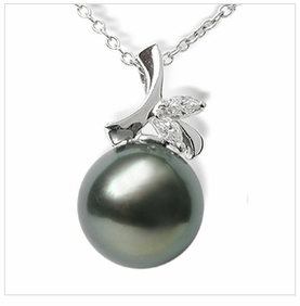 Bamboo Princess a Black Tahitian Cultured Pearl Pendant