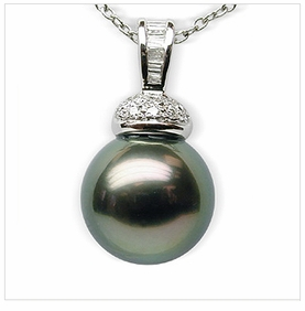 Salus Black Tahitian South Sea Pearl Pendant