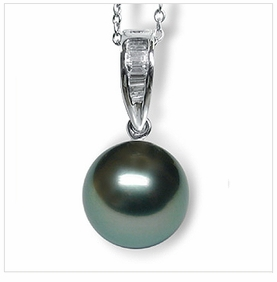 Victorian Black Tahitian South Sea Pearl Enhancer Pendant