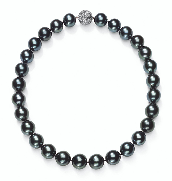 12 X 14mm Black Tahitian Cultured Pearl Necklace W