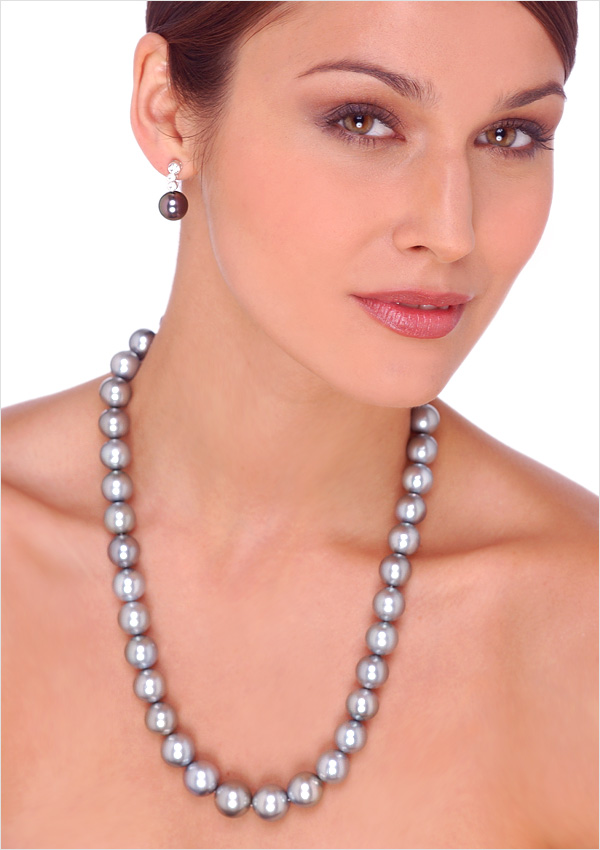 12 X 15mm Dove Silver Tahitian Cultured Pearl Necklace