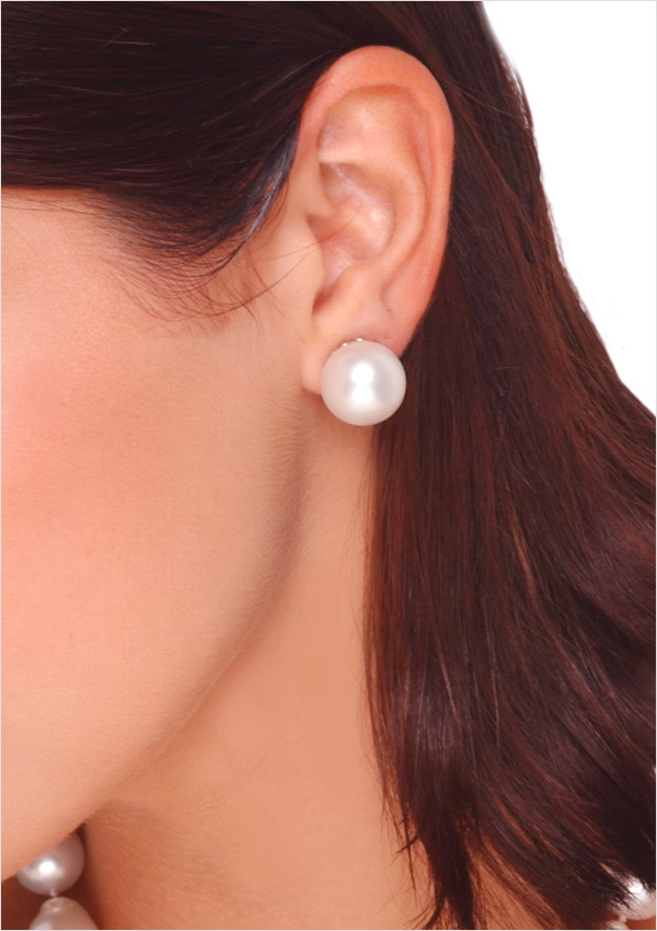 15mm White Australian South Sea Cultured Pearl Stud Earrings