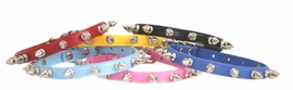 Colored Spiked Leather Dog Collar for Toy Breeds and Small Dogs